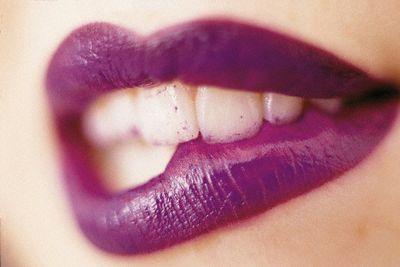 Mouth and Purple Lipstick